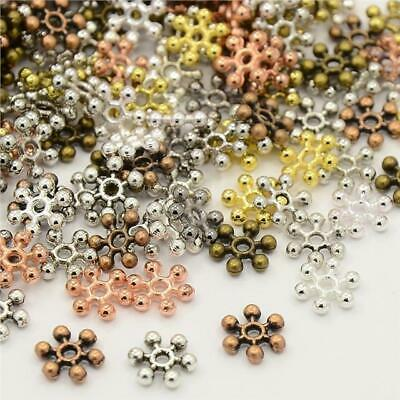 100 SNOWFLAKE SPACER BEADS 8mm MIXED COLOURS