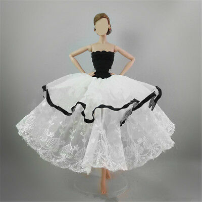 Handmade White Black Tiered Princess Dress Evening Party Clothes for Barbie Doll