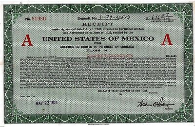 United States of Mexico Receipt Class A, 1924 (636,57 $)
