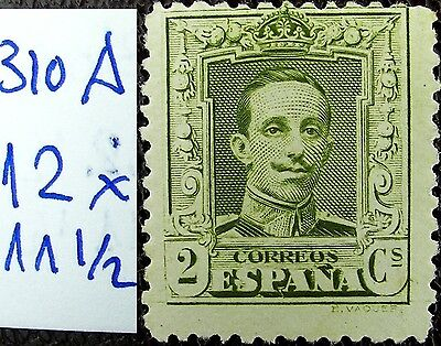 Spain edf 310A.d* Alfonso 2c 1922 NEW verde, dentado NO CATALOGADO, raro apx 30€
