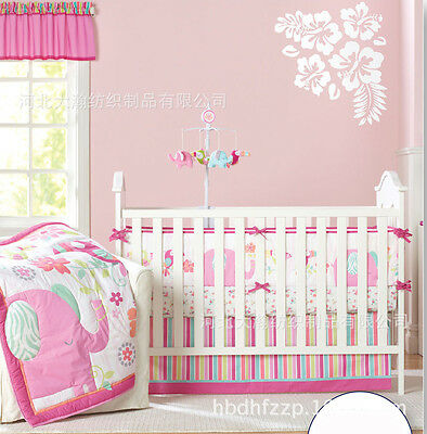 Baby Girls Pink Elephant 9 Piece Nursery Bedding Set Crib Cot Sets Nursery Decor