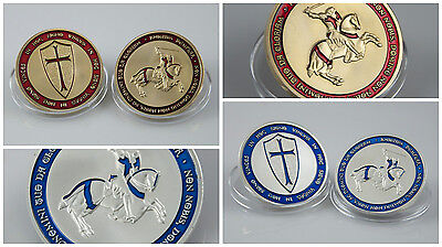 2 Pcs Temple Knight Crusader Silver Gold Coin Medal Coloured Colour Collect