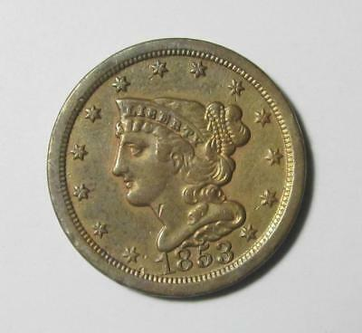 ⭐1853 BRAIDED HAIR HALF CENT⭐ Extra-Fine XF Scarce Luster !!!