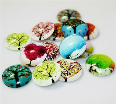 10 ROUND TREE OF LIFE PRINTED CLEAR GLASS DOMED CABOCHONS 18mm