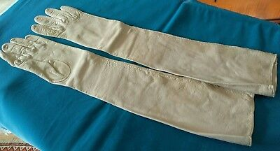 Ladies formal, long faux leather gloves, made in Italy, Alexander's, buff, cream