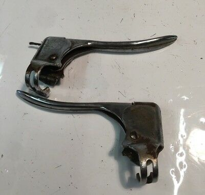 Pair Of Vintage Chrome Bicycle Brake Levers, Retro Bike Part #2527