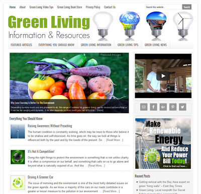 * GREEN ECO-FRIENDLY LIVING * blog website business for sale w/ AUTO CONTENT