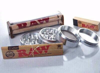 Authentic Raw Rolling Paper King Size Collection Grinder+Papers+Tips