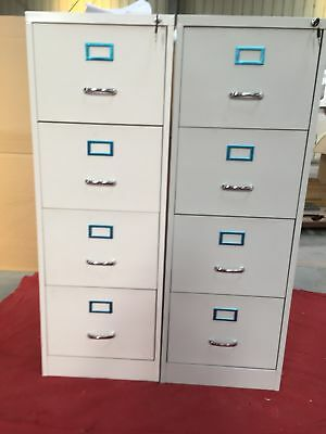 4 Drawer Filing Cabinet White Home Office Secure Lock Storage Documents save