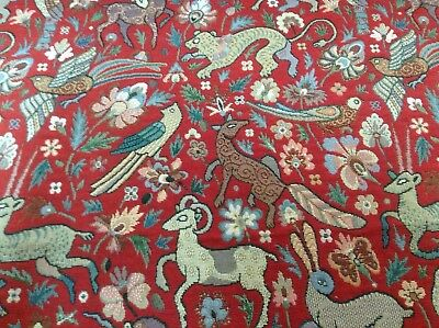 Traditional Vintage Woodland Tapestry Designer  Curtain/Upholstery Fabric Red