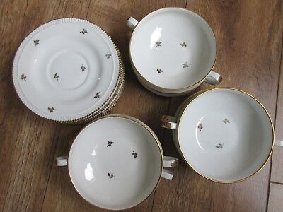 Stunning Set Of 6 Limoges French Coffee Bowls And Saucers