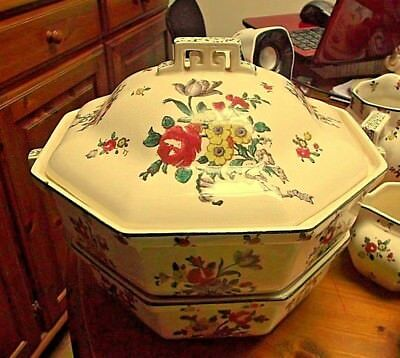 2 x Royal Doulton OLD LEEDS SPRAY ART DECO Tureens  D3548 ONLY ONE IS LIDDED