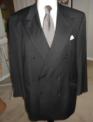 Hart Schaffner  Marx Gold Trumpeter Charcoal Double  Breasted  Mens Suit 42-43 R