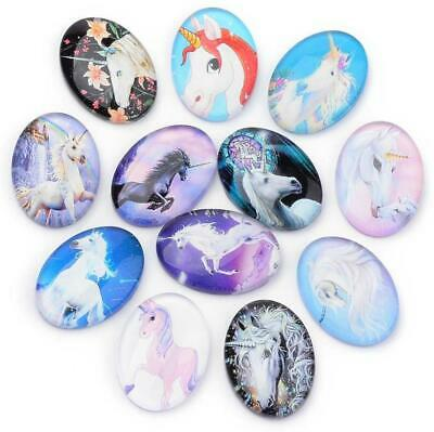 10 OVAL UNICORN PRINTED CLEAR GLASS DOMED CABOCHONS 25mm X 18mm