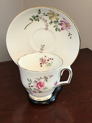 Crown Staffordshire Floral Pedestal Tea Cup And Saucer w/ Gold Gilding