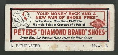 Vintage PETERS DIAMOND SHOES INK BLOTTER... Hecker, Ill.