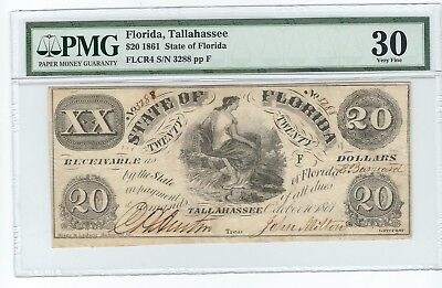 1861 $20 Obsolete State of Florida  FLCR4 S/N 3288 pp F 30 VF PMG