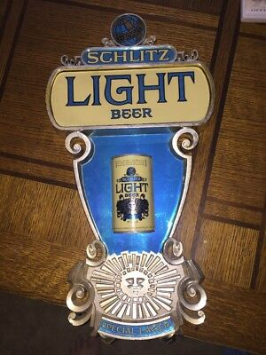 Vintage Schlitz Light Beer Special Lager 1976 Bar Display Sign Advertising