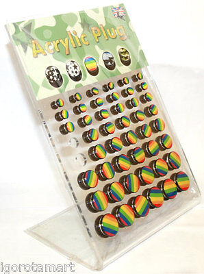 Job Lot 48X Rainbow Logo Tunnel Ear Plug Stretcher Expander Flare Saddle Plugs