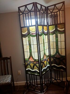 Antique stained glass room divider