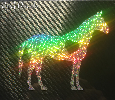 Glitter Horse Love Decal Equine farm pony animal ranch cat dog rider outdoor pet