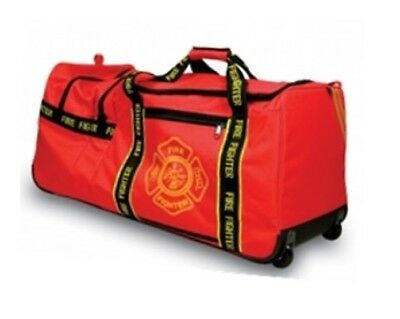 Red Firefighter Gear Bag - Extra Large High Capacity Fireman Bag with Wheels