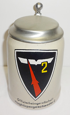 GERMANY Military Officers Society Missile Squadron 2 Beer Stein MUG Pewter Lid