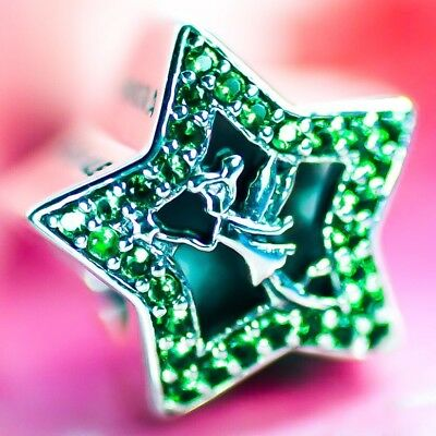 Authentic Genuine PANDORA Disney Tinker Bell Star Charm Green S925 ALE