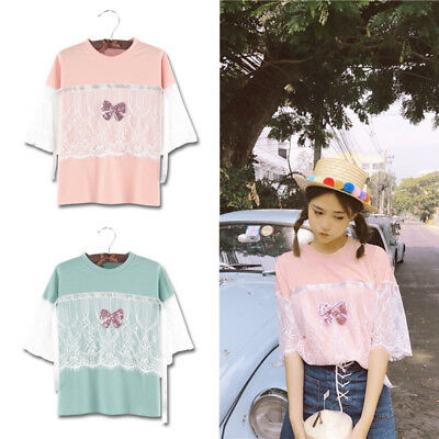 Fashion Lace Bow Tie T-shirt Short Sleeve Round Collar Summer Women Top 1 Pc