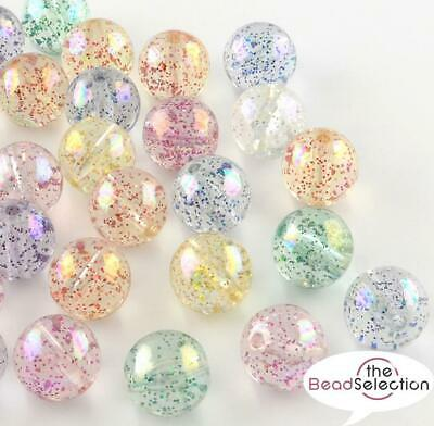 40 ACRYLIC BEADS GLITTER AB LUSTRE ROUND 10mm HOLE 2mm TOP QUALITY ACR61