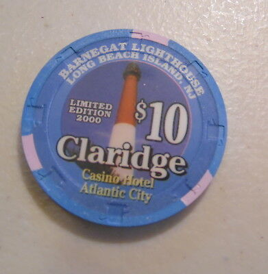 $10 Claridge Atlantic City Barnegat Lighthouse Chip Uncirculated