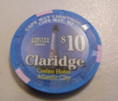 $10 Claridge Atlantic City Cape May  Lighthouse Chip Uncirculated