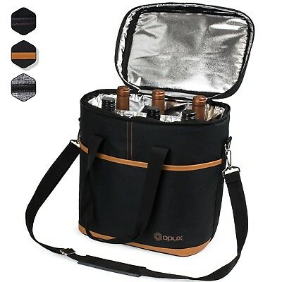 OPUX 6 Bottle Wine Tote Carrier Portable Insulated Carrying Bag Wine Holder