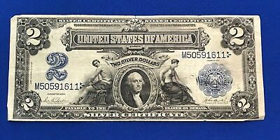 1899 $2 TWO DOLLAR BILL BIG SILVER CERTIFICATE LARGE CURRENCY NOTE, Free Ship