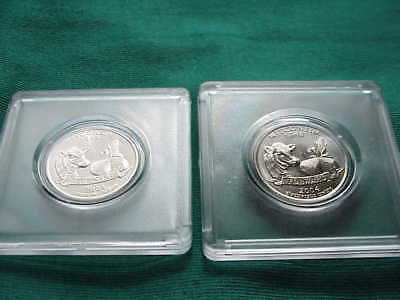 Set of 2004D Wisconsin Extra Leaf High Low Uncirculated Error Quarters, Pair