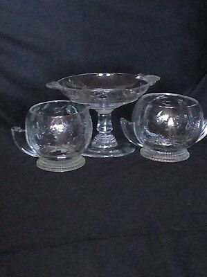 Etched glass Art Deco 3 piece cream, sugar compote dish set
