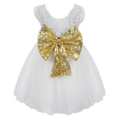 Baby Girls White Gold Sequin Bow Princess Occasion Dress - Baptism Christening