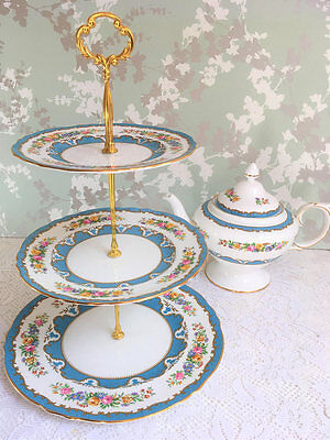 Crown Staffordshire Blue Lyric Tunis 3 Tier Cake Stand A