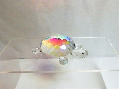 Oleg Cassini Glass Clear Iridescent Crystal Turtle Paperweight New in Box