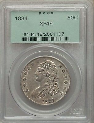1834 50C Capped Bust Half Dollar (OGH) PCGS XF45 #2561107 OLD GREEN HOLDER!!!