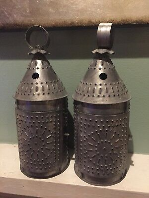 Pair of Antique Pierced Tin Lantern Light Patina Primitive Paul Revere Style