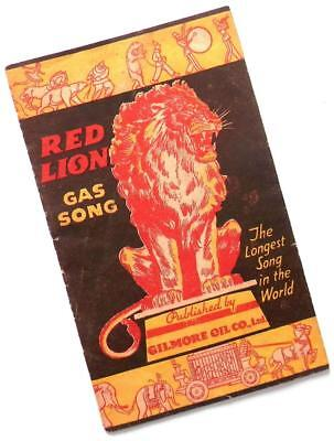 """1933 GILMORE OIL CO. Red Lion """"Longest Song in the World"""" advertising brochure"""