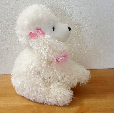 """Animal Alley White Poodle w Pink Bows, Soft & Cuddly Puppy Dog 12"""""""