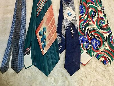 Lot Of 4 Men's Vintage Ties Calif Hand Paint All Silk Lepetich Manbich Hipster
