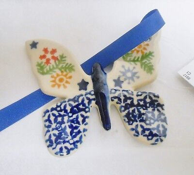 Boleslawiec Polish Pottery BUTTERFLY Christmas Ornament Garland Pattern NWT