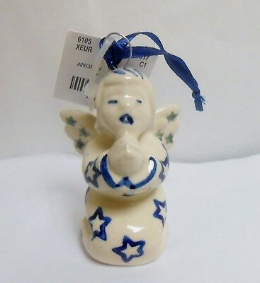 Boleslawiec Polish Pottery WIZA Angel Blue Stars Pattern Christmas Ornament