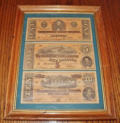 Antique Vintage  Framed $1-$5-$10 Confederate Currency  **excellent Condition**