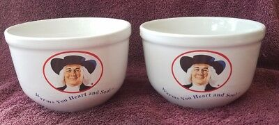 QUAKER OATS Oatmeal Bowl 1999 Warms You Heart and Soul Set of 2 White Bowls