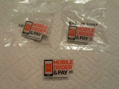 McDonalds mobile order & pay Pins  Lot of 3 NEW