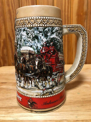 """1987 RARE Budweiser Holiday Stein Collector Series """"C"""" Series Clydesdales Beer"""